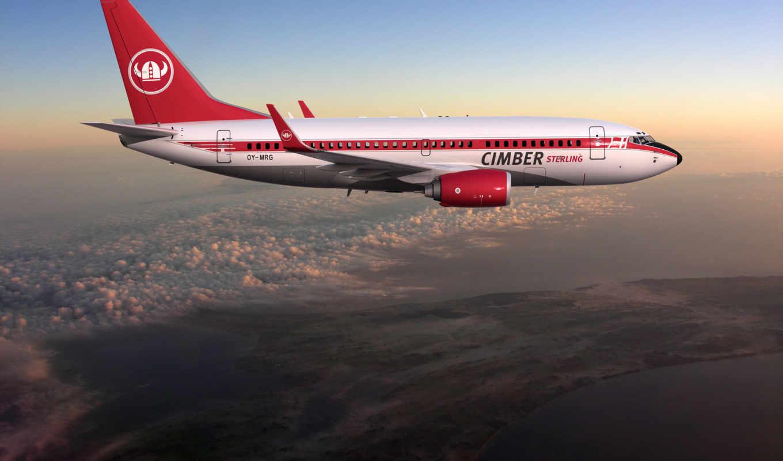 boeing, полет, облака, картинка, sterling, cimber, пассажирский, самолёт, лайнер,