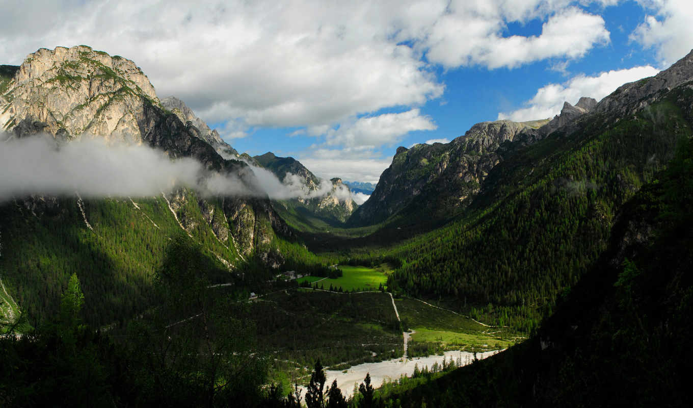 горы, лес, долина, домик, картинка, картинку,