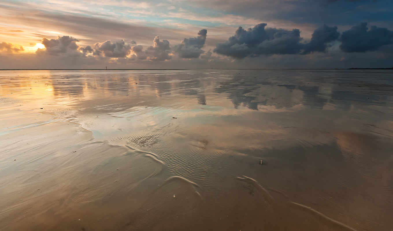 небо, море, пляж, облака, картинка,