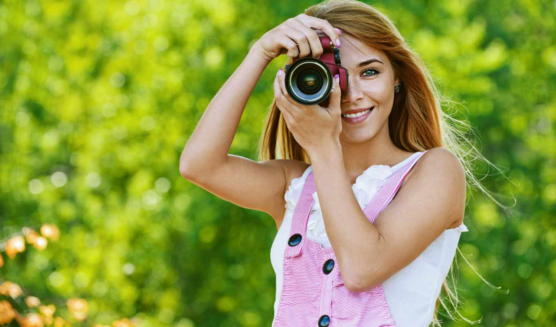 девушка, фотоаппарат, девушки, улыбка,