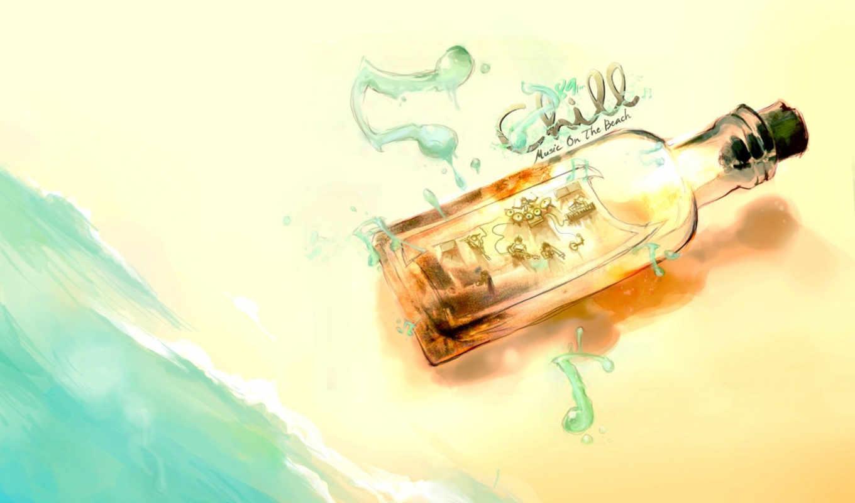 пляж, рисунок, картинка, море, музыка, музыкантами, бутылка,
