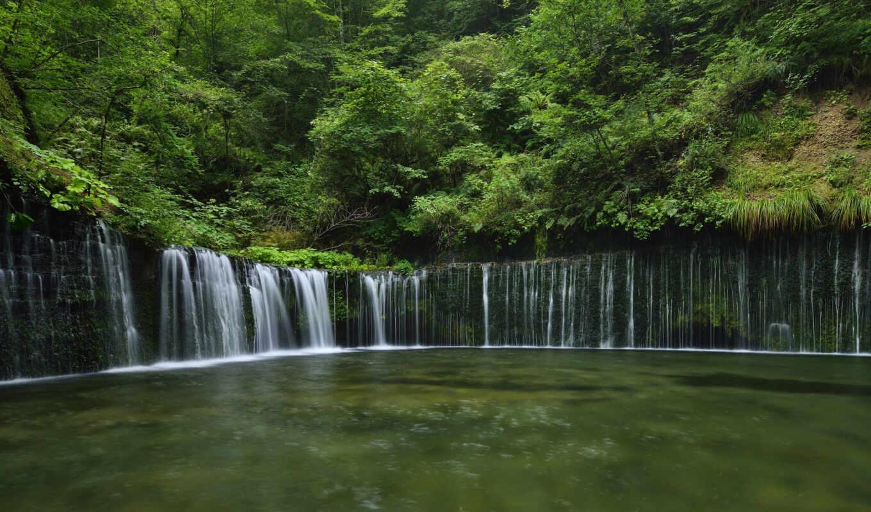 природа, япония, водопад, река, лес, красиво, water,