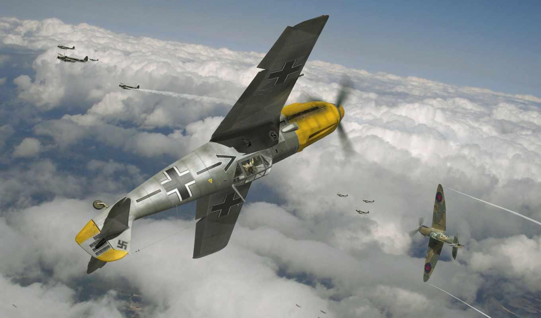art, британские, ww, самолеты, небо, aerial, luftwaffe, бой, немецкие, combat,