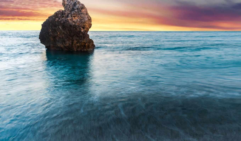 greece, beach, скала, lefkada, море, milos, island, рассвет, океан, lonerock,
