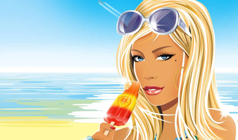 блондинка, очки, мороженное, лето, море, вектор, girl, hed, kandi, کامپیوتری, beach, she, girls, blond,