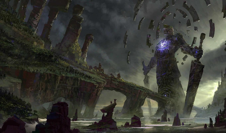 yohann, schepacz, арт, скалы, гигантское, море, существо, люди, oyo, fantasy, картинка, меч, вызов, картинку, магия,
