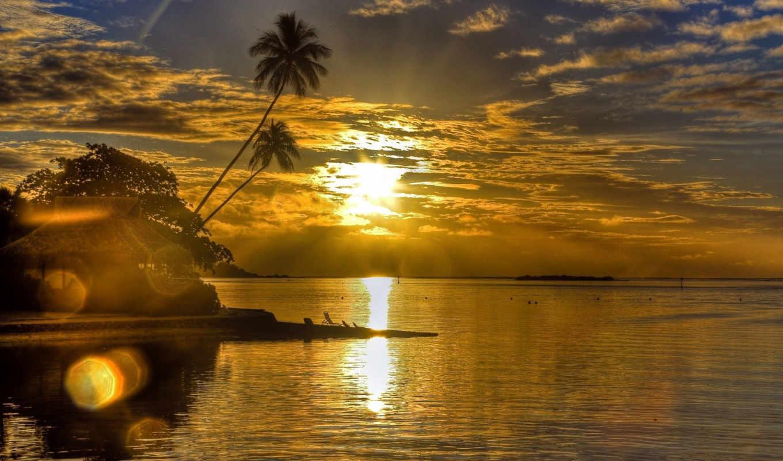 закат, море, пальмы, sun, вечер, oblaka, берег, блики, landscape, бунгало,