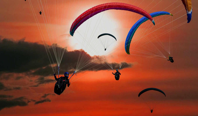 ,небо,парашют,прыжок,