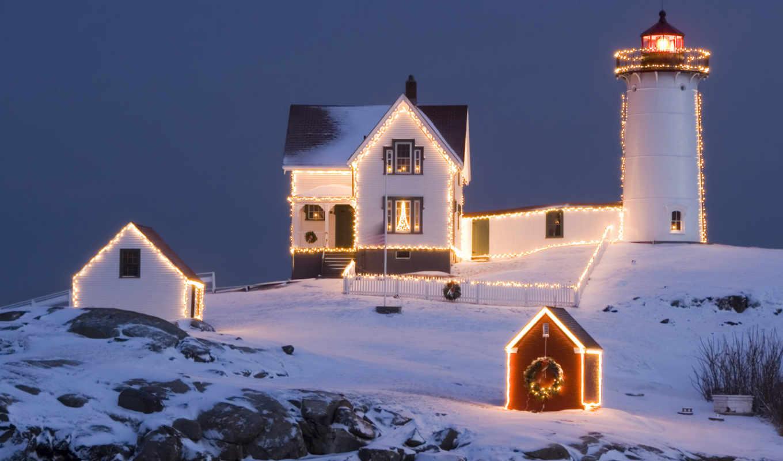 christmas, lighthouse, маяк, вечер, праздник, desktop, дек, год, landscape, nice,