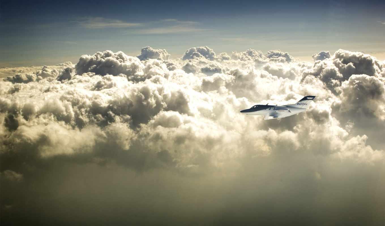 облака, небо, самолёт, полет, height,