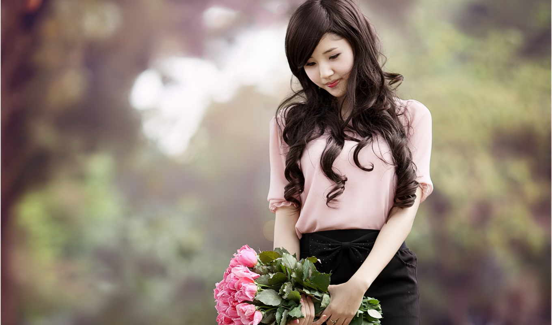 девушка, asian, цветы, картинка, девушки, букет, женщина, brazuca, mundial,