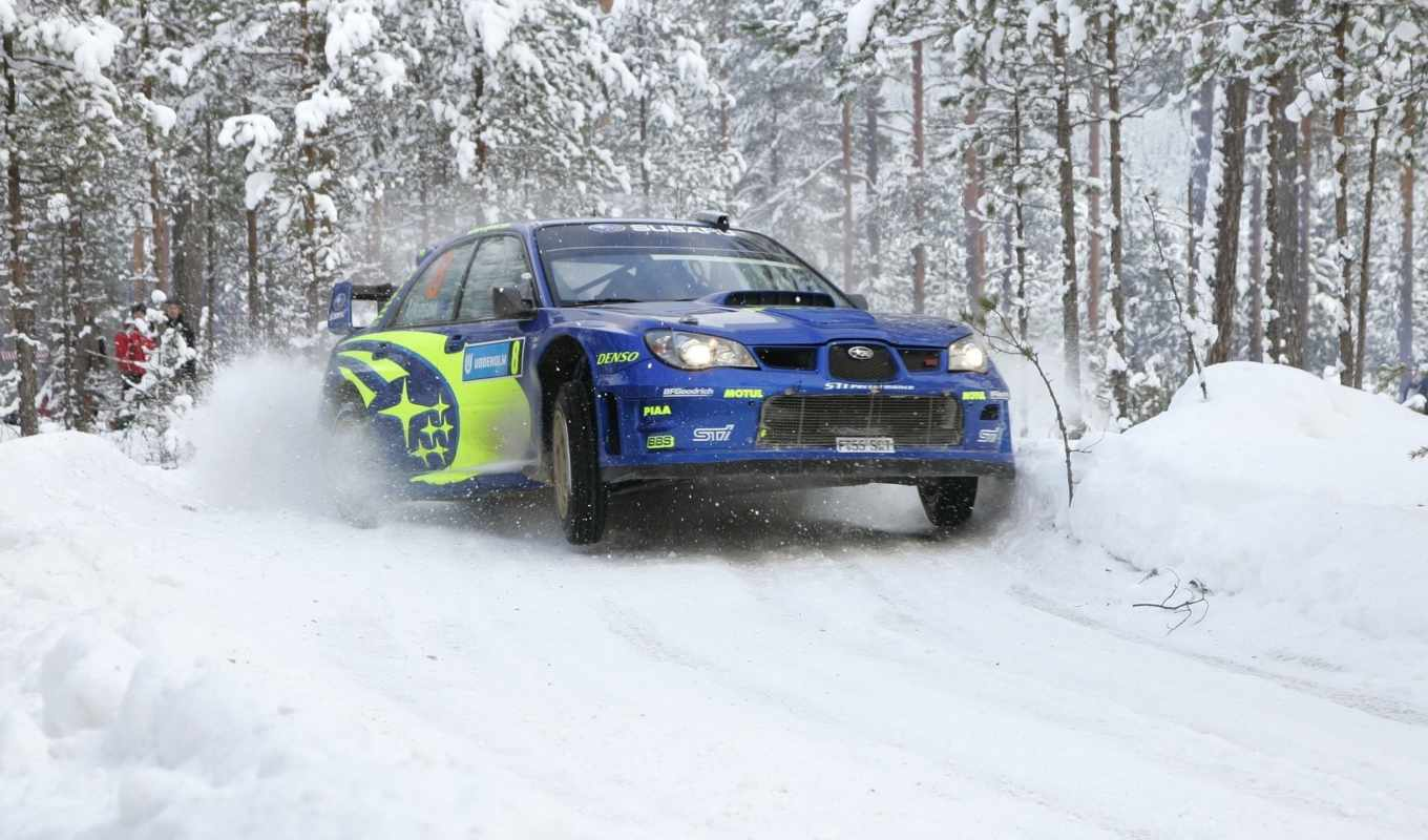 subaru, rally, winter, impreza, blue, race, снег, wrc,