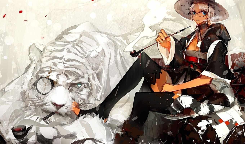 тигр, anime, шляпа, трубка, panamaman, девушка, art, white,