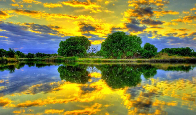clouds, золотистый, озеро, зелёный, отражение, reflections, природа,