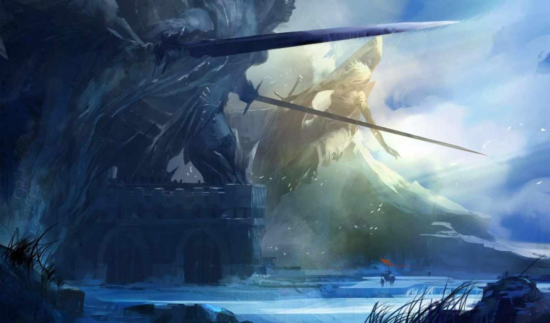 art, обои, скалы, меч, статуя, путники, арт, wrath