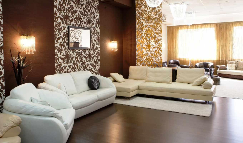интерьер, дизайн, гостиная, коричневый, бежевый, стиль, подушки, кресло, белый, диван, лампы, дерево, паркет,