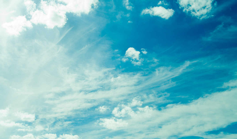 небо, oblaka, summer, взгляд,