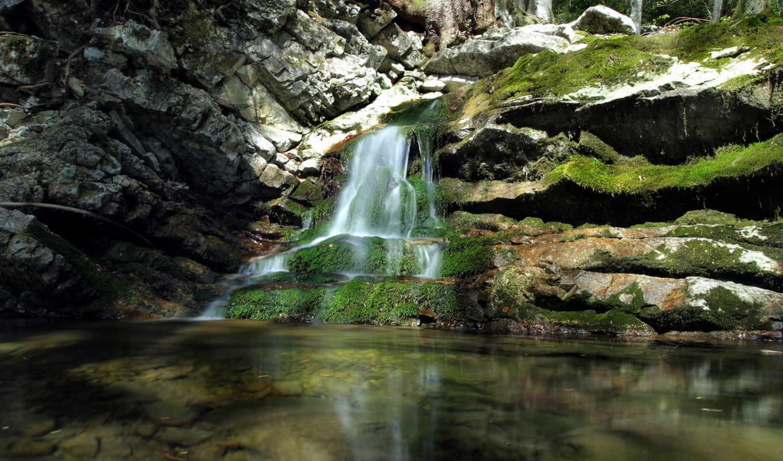 rock, камень, водопад, мох, rocks, природа,