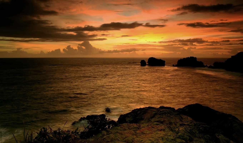 скалы, fondos, paisajes, oblaka, pantalla, небо, закат, skyscapes, море, mares, камни,