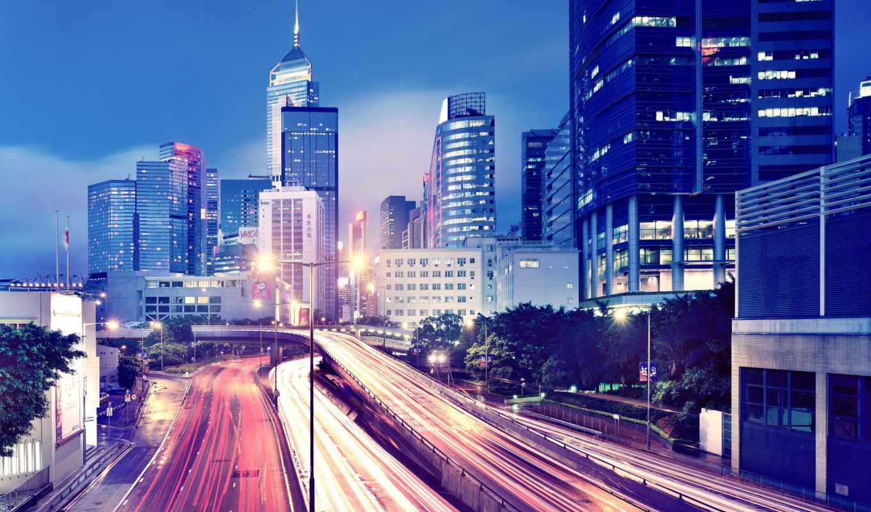 пейзажи, город, мегаполисов, ночь, lina,