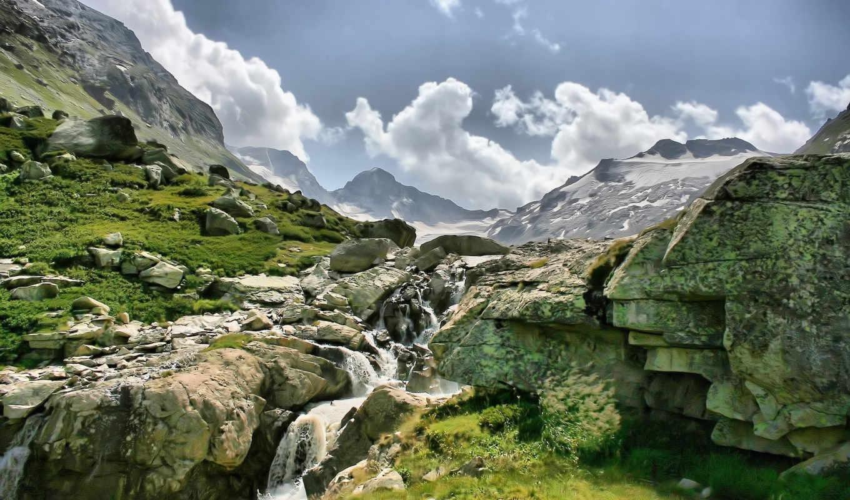 горы, скалы, водопад, картинка, картинку,