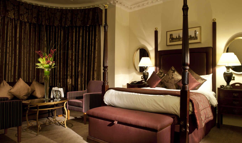 спальня, кровать, комната, столик, картинку, картинка, кнопкой, мыши,