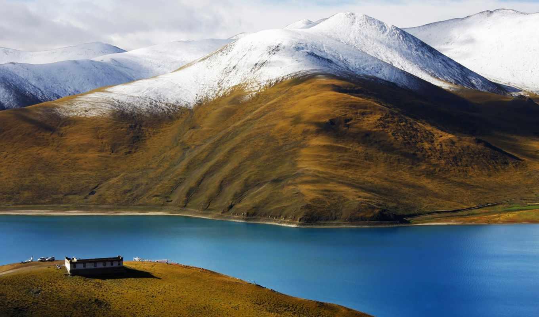горы, tibet, река, china, небо,