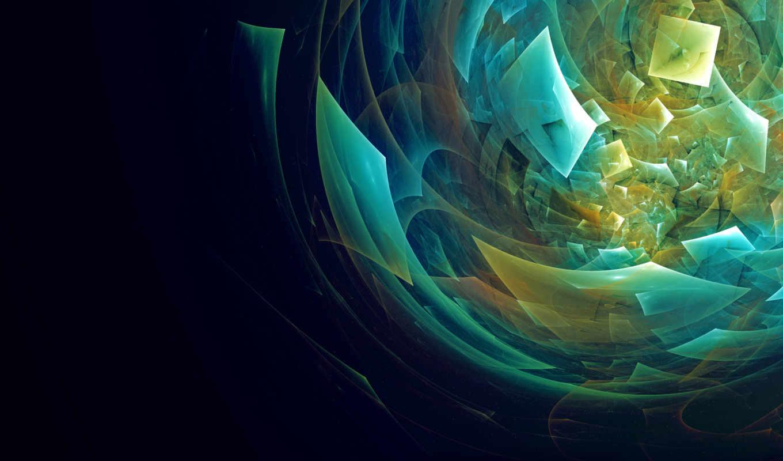 абстракция, осколки, голубой, оранжевый