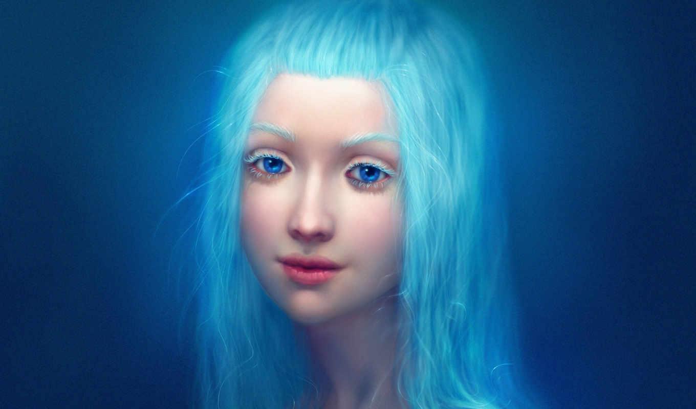 волосы, синие, девушка, свет, длинные, голубые,