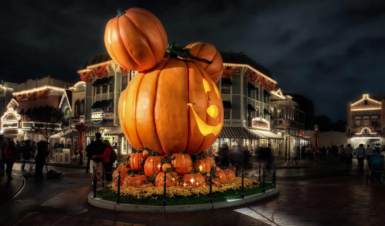 disneyland, ночь, halloween, изображение, california, тыква, usa, hdr, украшения,