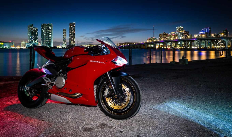 мотоциклы, ducati, мотоцикл, red, город, картинка, ночь,