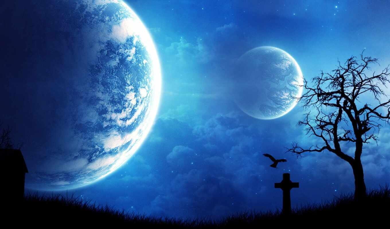 ночь, graves, world, tiny, музыка, mysticism, луна, cosmos, planet,