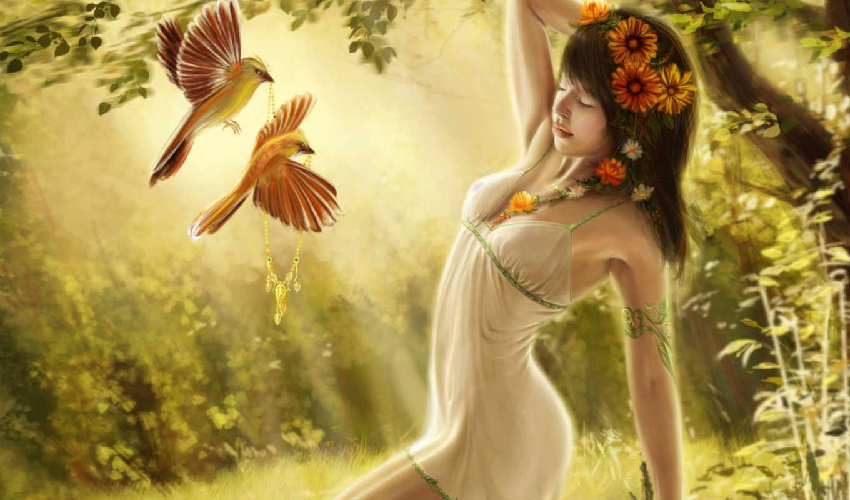girl, dreaming, fantasy, лесу, птицы, лес,
