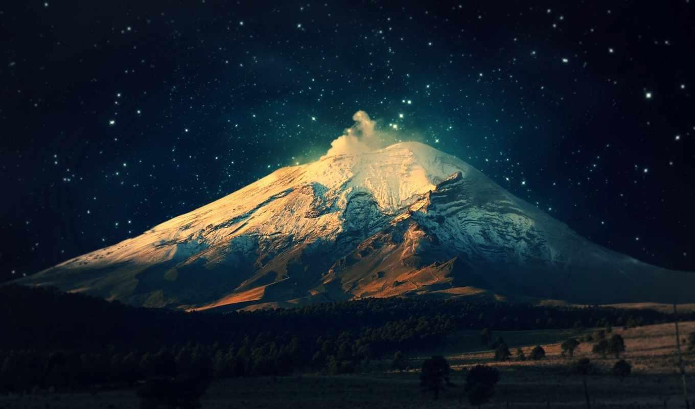 гора, ночь, лунно, свет, горы, landscape,