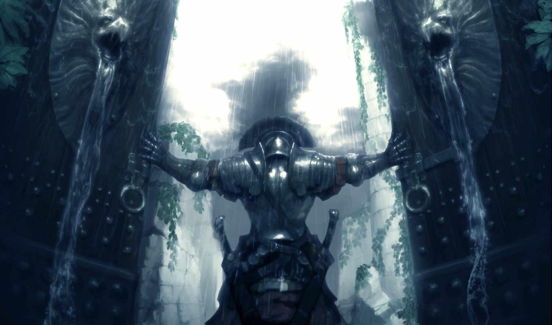 воин, оружие, мечи, armour, дождь, strong, gate,