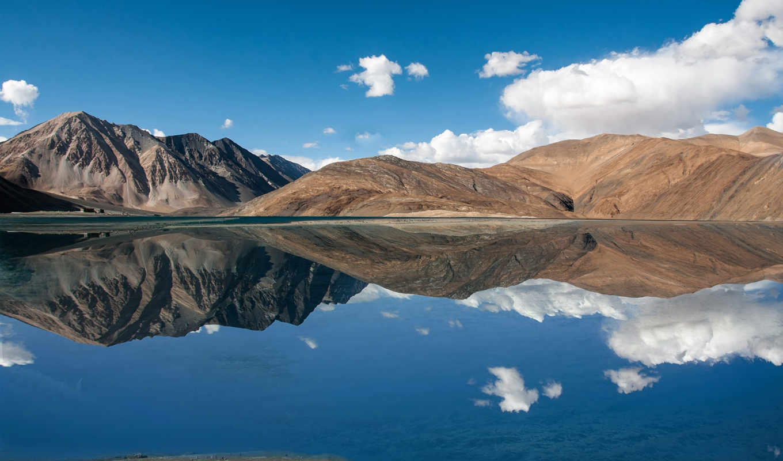 озеро, pangong, leh, jammu, kashmir, день, же,
