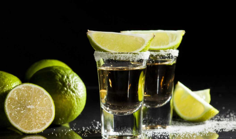 tequila, напиток, slit, lemon