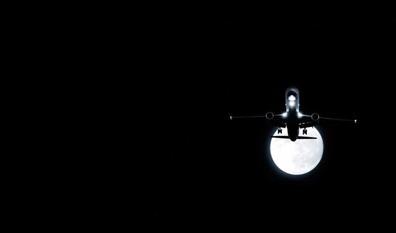 обои, авиация, самолет, ночь, обоев, луна, ru, это