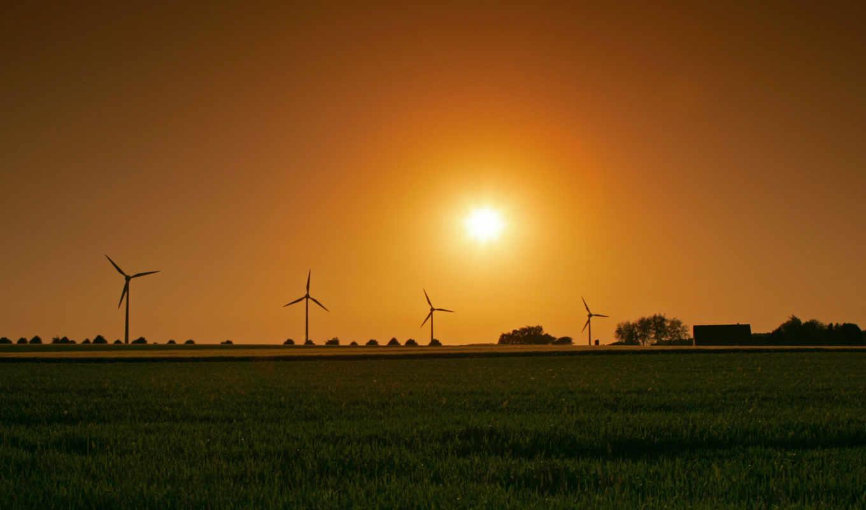 sunset, солнце, wind, ветряк, поле, generator,