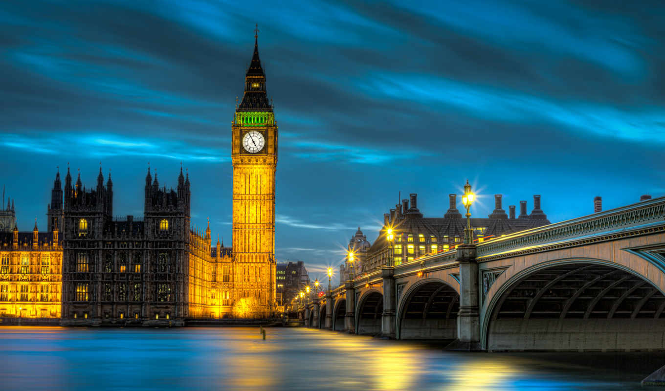 pack, best, palace, westminster, big, ben, london, города, england, britain, great, ночь, фонари, город, освещение, свет, мост,