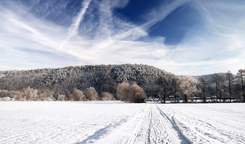дорога, снег, небо, лес, зима, дома, природа, поле, горизонт, пейзаж, картинка, новогодние,