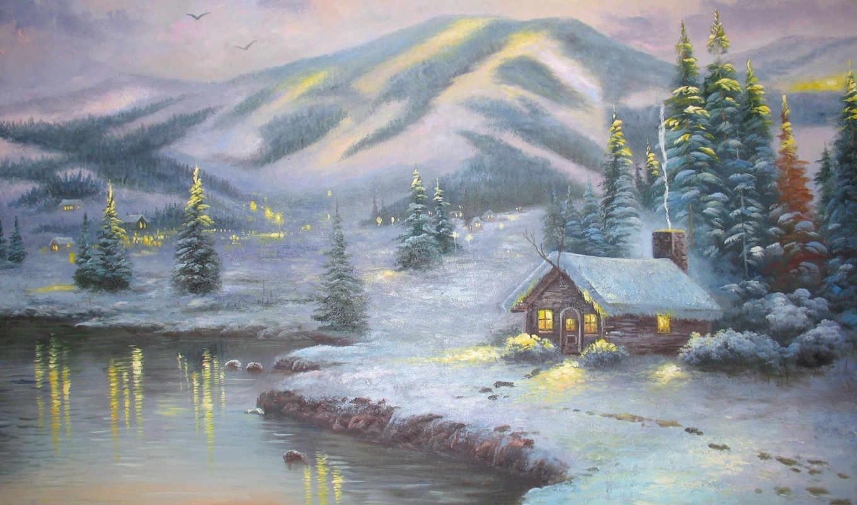 томас, kinkade, winter, вечер, christmas, часть,