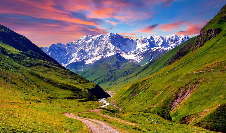 горы, гори, картины, літо, summer, засніжені, долина, горная, африка,