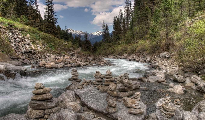 ,лес, река, камни, небо, лесная река, 4k,