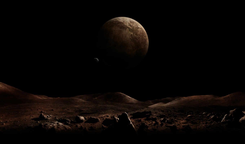 планеты, поверхность, спутник, мрак, пространство,