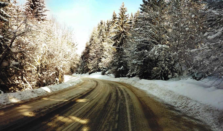 снег, winter, деревя, дорога, зимние, природа, дороги, самые, pack,