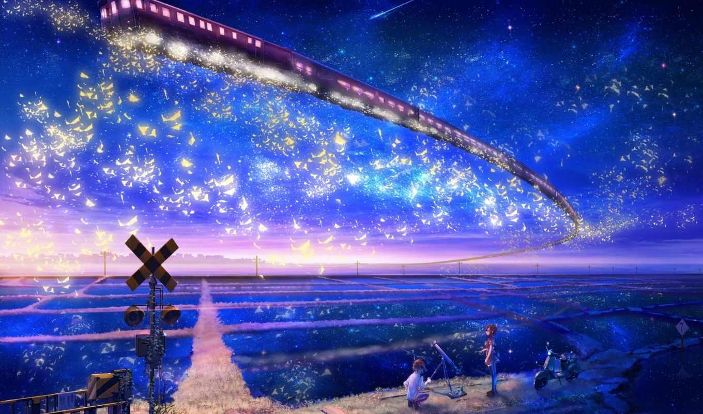 anime, поезд, коллекция, небо, девушка, landscape, art, inz, небе, фантастика,