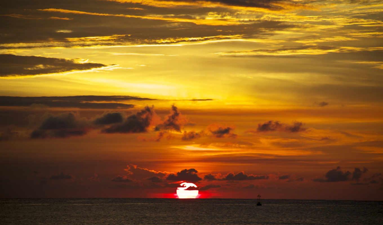 закат, небо, июнь, море, природа, clouds,