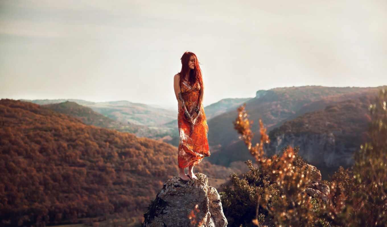 девушка, музыка, камень, взгляд, landscape