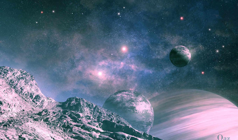 планеты, космос, спутник, ландшафт, арт, qauz, shine, rise,